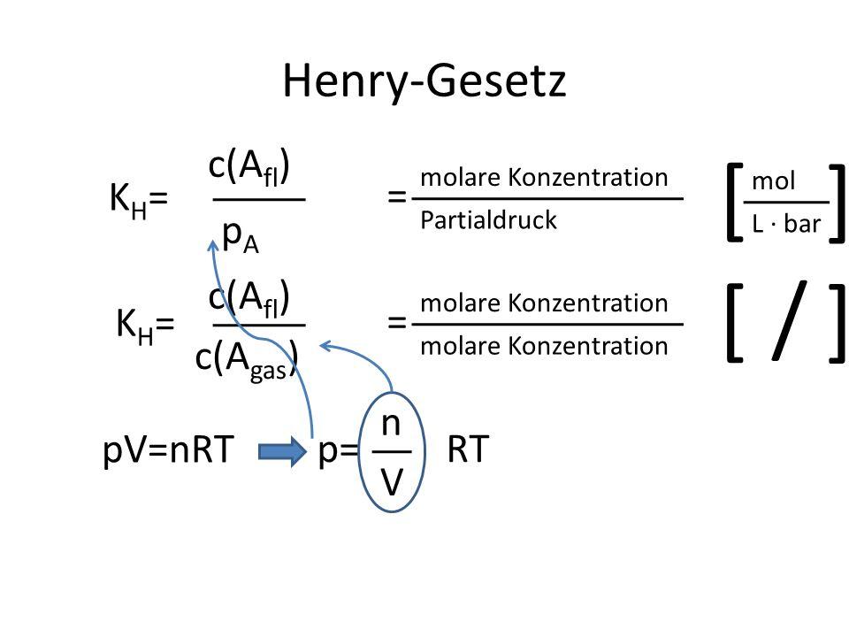 [ [ [ / [ Henry-Gesetz c(Afl) KH= = pA c(Afl) KH= = c(Agas) n pV=nRT